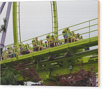 Six Flags Great Adventure - Medusa Roller Coaster - 12121 Wood Print by DC Photographer