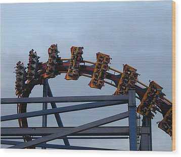 Six Flags Great Adventure - Medusa Roller Coaster - 12127 Wood Print by DC Photographer