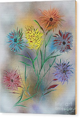 Wood Print featuring the painting Six Flowers by Greg Moores