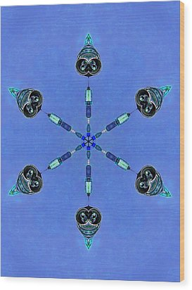 Six Heads Are Better Than One - Blue Wood Print by Wendy J St Christopher