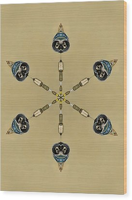 Six Heads Are Better Than One - Ecru Wood Print by Wendy J St Christopher