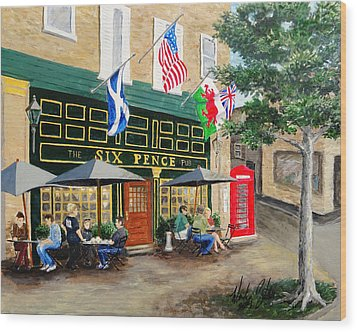 Wood Print featuring the painting Six Pence Pub by Marilyn Zalatan