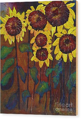 Six Sunflowers Wood Print by Claire Bull