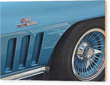 Sixty Six Corvette Roadster Wood Print by Frozen in Time Fine Art Photography