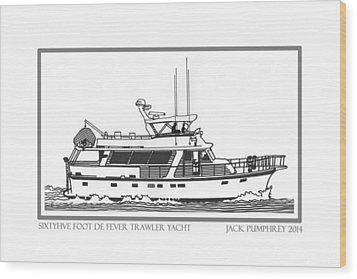 Sixtyfive Foot Defever Trawler Yacht Wood Print by Jack Pumphrey