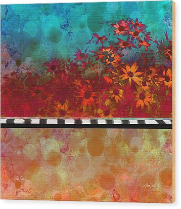 Sizzle Abstract Floral Art Wood Print by Ann Powell
