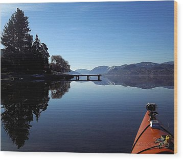 Skaha Lake Calm 2 Wood Print by Guy Hoffman