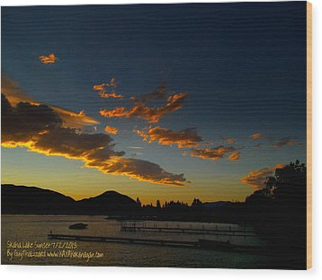 Wood Print featuring the photograph Skaha Lake Sunset 02 July02/2013 by Guy Hoffman