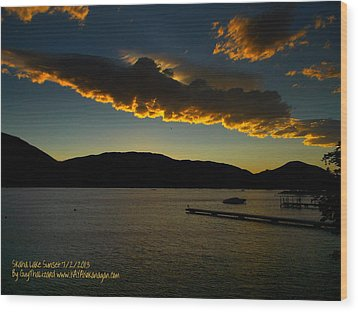 Wood Print featuring the photograph Skaha Lake Sunset July02/2013 by Guy Hoffman