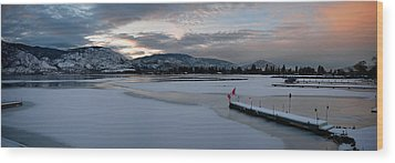 Skaha Lake Sunset Panorama 02-27-2014 Wood Print by Guy Hoffman