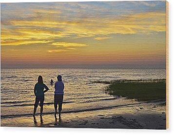 Skaket Beach Sunset 4 Wood Print by Allen Beatty