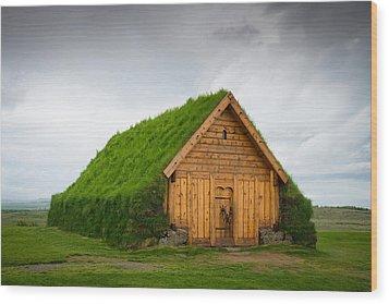 Skalholt Iceland Grass Roof Wood Print