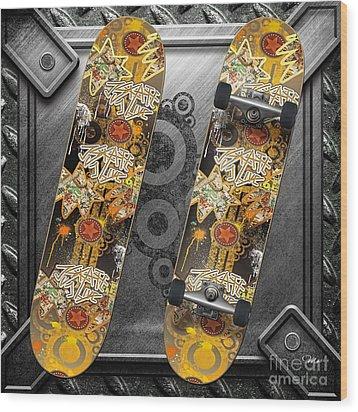 Skateboard Wood Print by Mo T