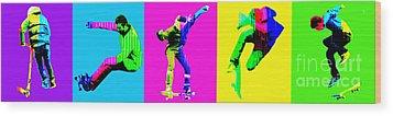 Skateboarders Wood Print by Michelle Orai