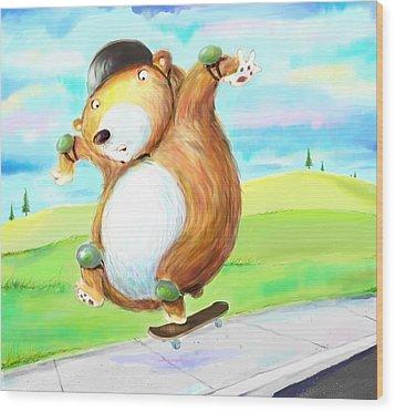 Skateboarding Bear Wood Print by Scott Nelson