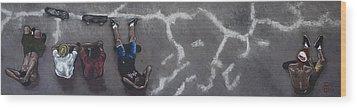 Skater Boys Wood Print by Cristel Mol-Dellepoort
