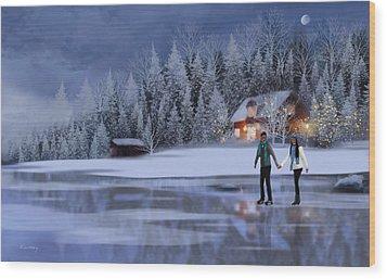 Skating At Christmas Night Wood Print