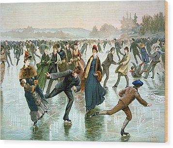 Skating Wood Print by Hy Sandham