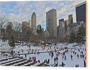 Skating In Central Park Wood Print