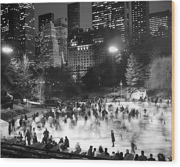 New York City - Skating Rink - Monochrome Wood Print by Dave Beckerman