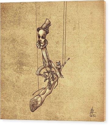 Skeleton On Cycle Wood Print by Autogiro Illustration