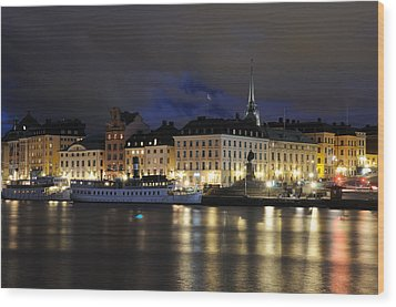 Skeppsbron At Night Wood Print