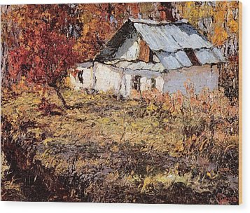 Sketch Of A Maple Tree And A Peasant House Wood Print by Jake Hartz