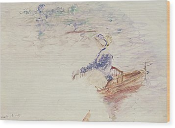 Sketch Of A Young Woman In A Boat Wood Print by Berthe Morisot