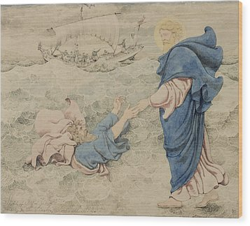 Sketch Of Christ Walking On Water Wood Print by Richard Dadd
