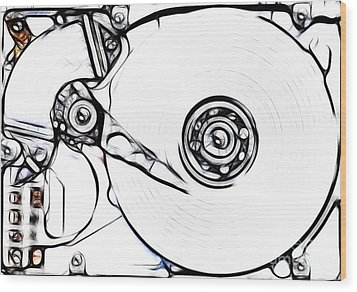 Sketch Of The Hard Disk Wood Print by Michal Boubin