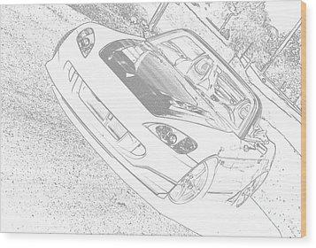 Sketched S2000 Wood Print