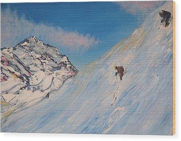 Ski Alaska Heli Ski Wood Print by Gregory Allen Page