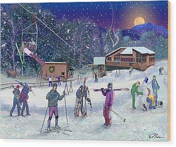 Ski Area Campton Mountain Wood Print by Nancy Griswold