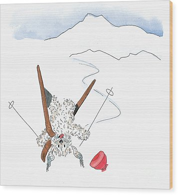 Ski Fail Wood Print by Leah Wiedemer