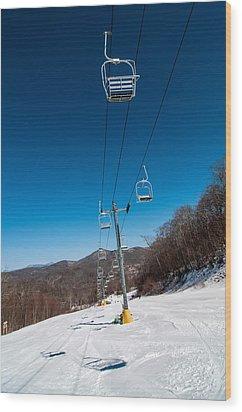 Ski Lift Wood Print by Alex Grichenko