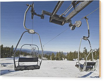 Ski Lifts At Mount Hood In Oreon Wood Print