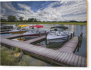 Ski Nautique Wood Print by Debra and Dave Vanderlaan