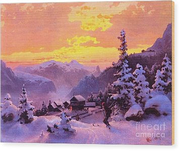 Ski Wood Print by Pg Reproductions