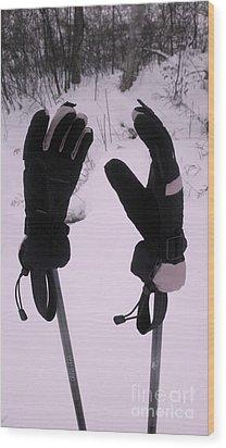 Ski Poles Wood Print by Polly Anna