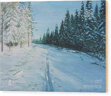 Wood Print featuring the painting Ski Tracks by Martin Howard