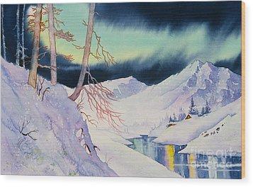 Ski Trail Wood Print by Teresa Ascone