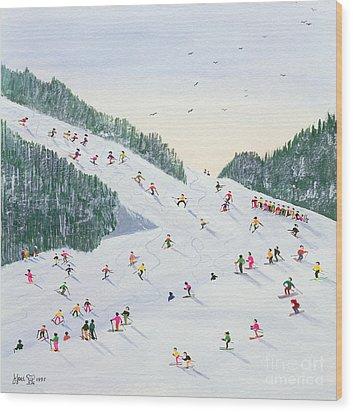 Ski Vening Wood Print by Judy Joel