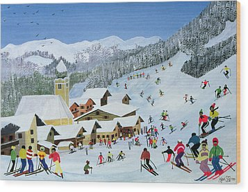 Ski Whizzz Wood Print by Judy Joel