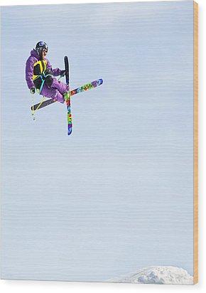 Ski X Wood Print by Theresa Tahara