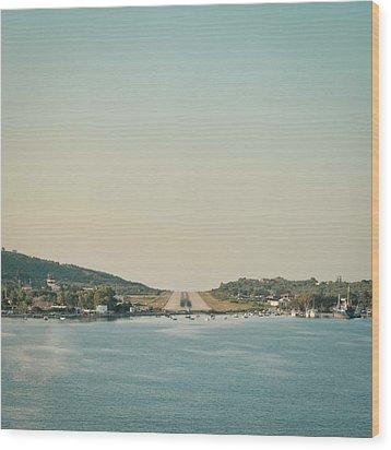 Skiathos Airport Wood Print by Tom Gowanlock