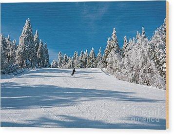 Skiers Paradise Wood Print by Sharon Seaward