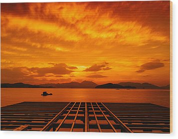 Skies Ablaze - One Wood Print