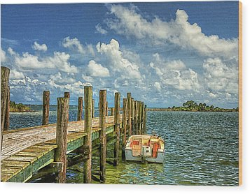 Skiff And Pier Wood Print
