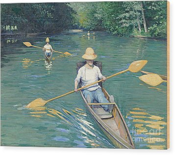 Skiffs Wood Print by Gustave Caillebotte