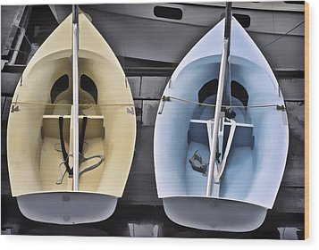 Skiffs Wood Print by Richard Farrington